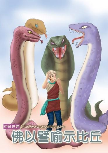 """佛在舍卫国只树给孤独园向比丘们开示:""""譬如有四条极为凶猛的大毒蛇"""