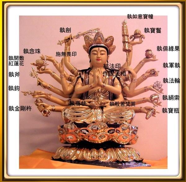 准提菩萨三目十八臂的表法含义